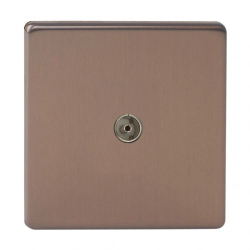 Varilight XDY8S.BZ Screwless Brushed Bronze 1 Gang Co-Axial TV Socket